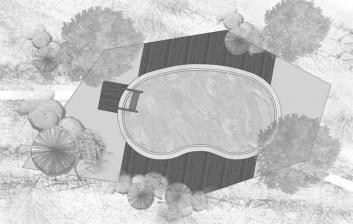 Κάτοψη πισίνας ασπρόμαυρη